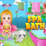 Bebê Hazel tomando seu banho