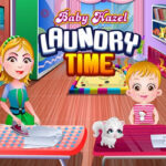 Baby Hazel lava suas Roupas