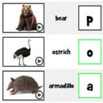 Iniciais de Animais em inglês
