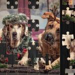Quebra-cabeça com cães de Natal
