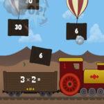 Tabuada do 3: Explodir os balões e carregar o trem